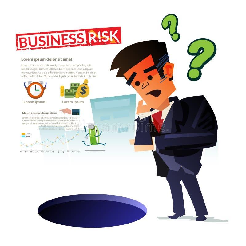 Förväxla affärsmannen med hålet tänka och bekymmer om det stora problembegreppet - vektor stock illustrationer