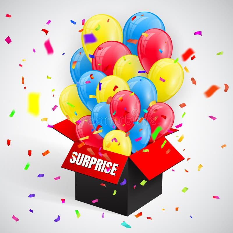 Förvåna affischen med konfetti- och ballonggruppflyg från den öppna röda asken också vektor för coreldrawillustration vektor illustrationer