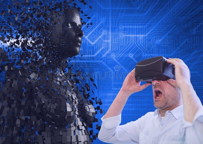 Förvånad affärsman som använder VR-exponeringsglas vid modellen 3d royaltyfria bilder
