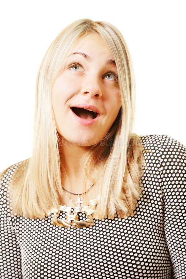 förvånad blondin arkivbild
