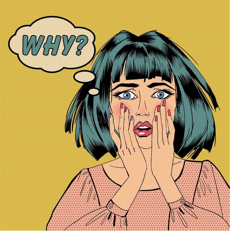 Förvånad chockad kvinna vektor illustrationer