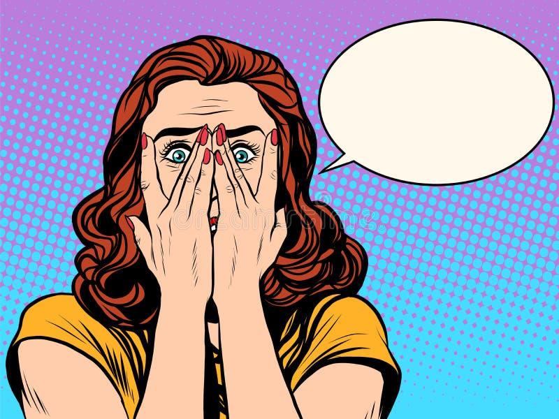 Förvånad chockad kvinna royaltyfri illustrationer