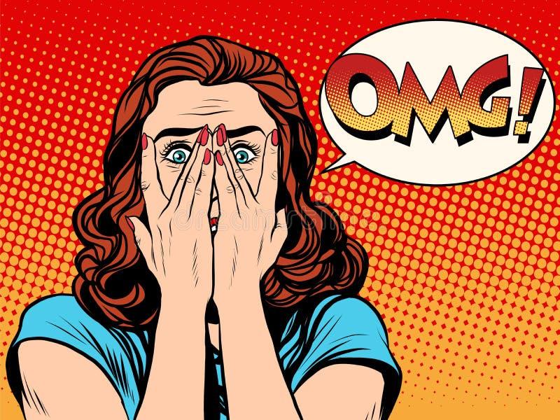 Förvånad chockad kvinna för OMG royaltyfri illustrationer