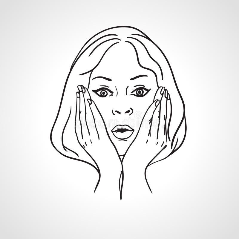 Förvånad flicka, chockad framsida, slut upp ståenden vektor illustrationer