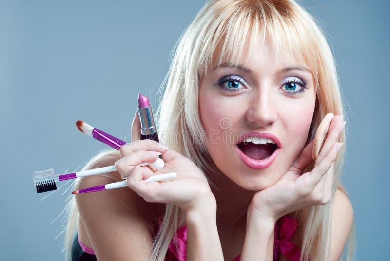 Förvånad flicka med makeup royaltyfri bild