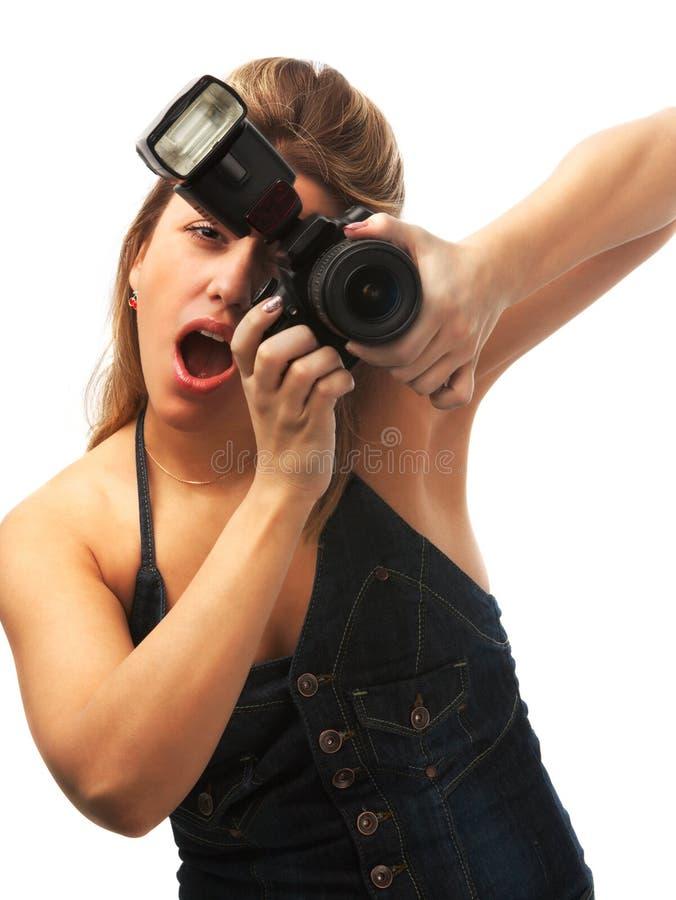 förvånad fotograf royaltyfria foton