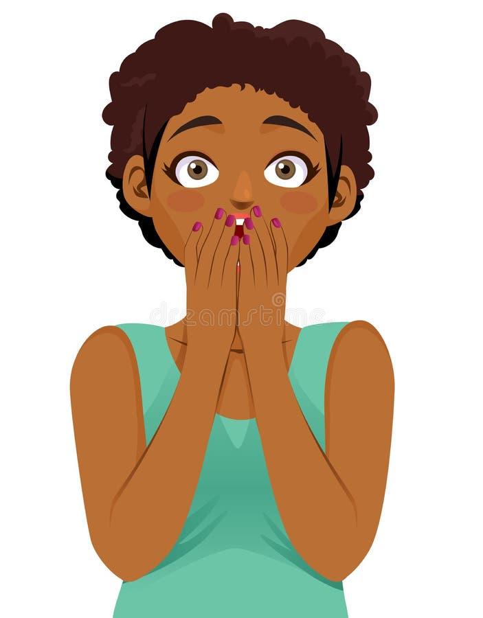 Förvånad härlig svart kvinna royaltyfri illustrationer