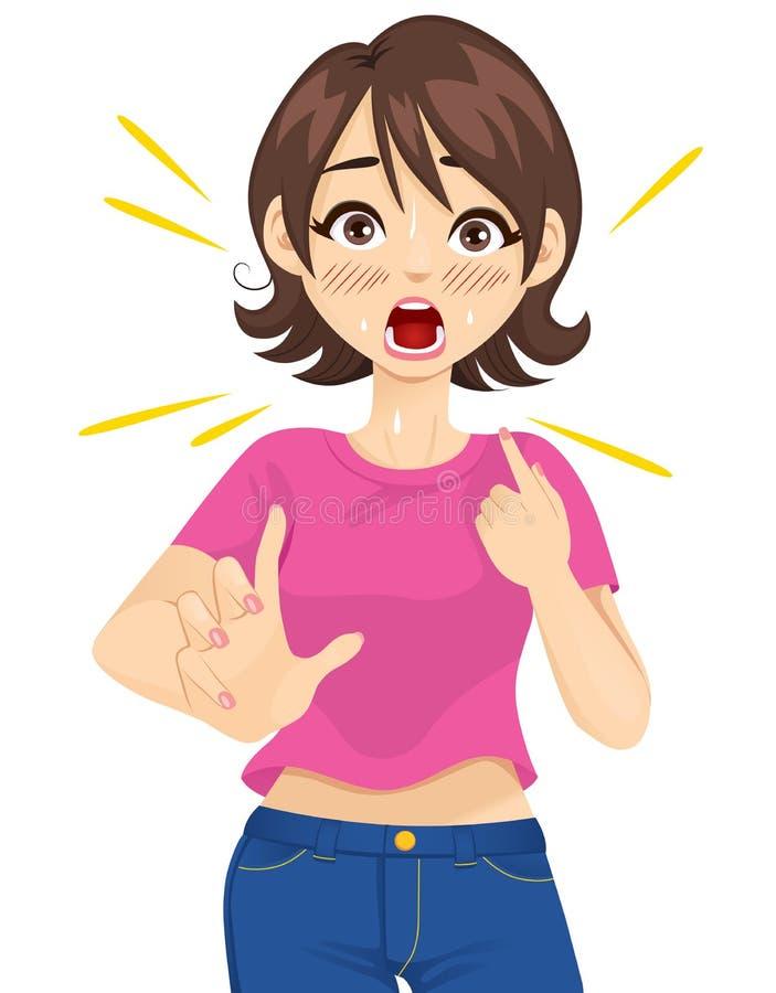 Förvånad kvinna peka sig stock illustrationer