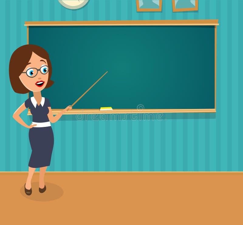 Förvånad lärare med öppet halva-vänt mun- och skolflickasammanträde på ett skrivbord som vänder stock illustrationer