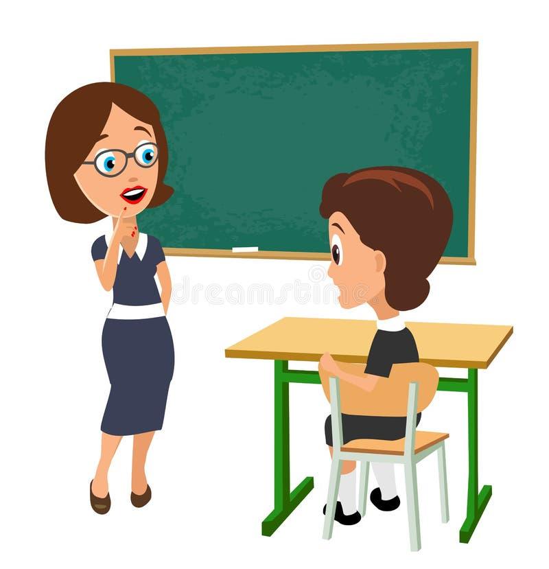 Förvånad lärare med öppet halva-vänt mun- och skolflickasammanträde på ett skrivbord som vänder royaltyfri illustrationer