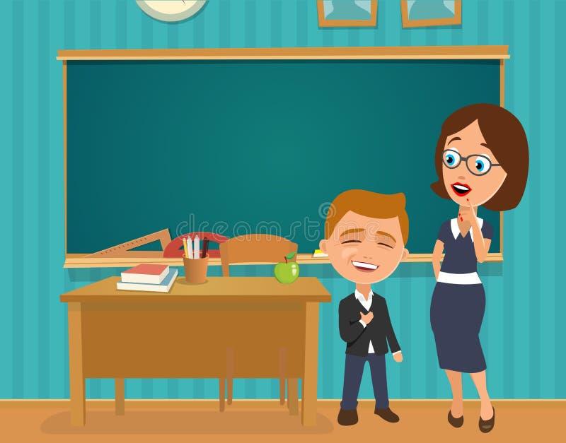 Förvånad lärare med den öppna munnen stock illustrationer