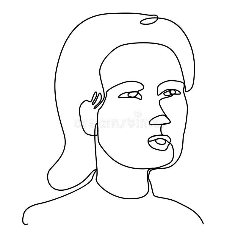 Förvånad linje Art Portrait för kvinna en Kvinnligt ansiktsuttryck Hand dragen linjär kvinnakontur stock illustrationer