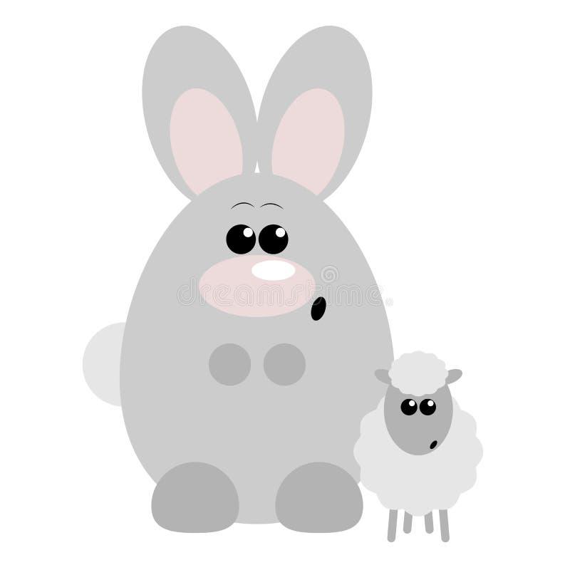 Förvånade kanin och får stock illustrationer