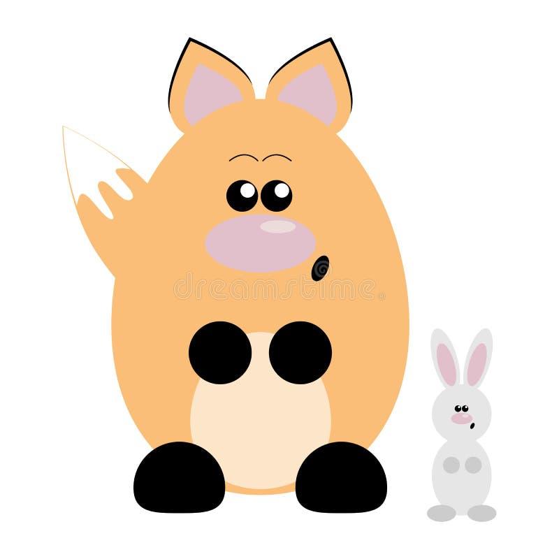 Förvånade räv och kanin royaltyfri illustrationer
