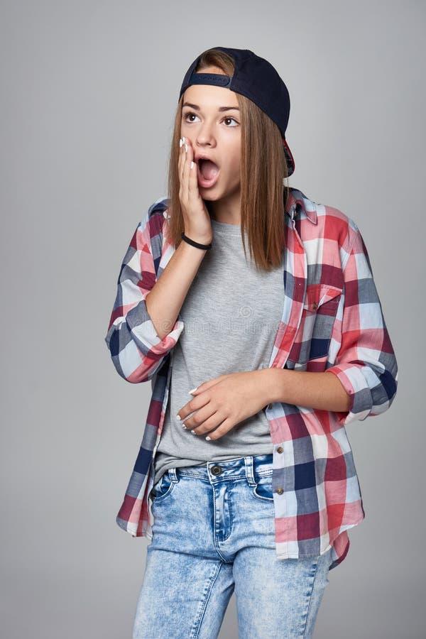 förvånadt teen för flicka royaltyfria foton