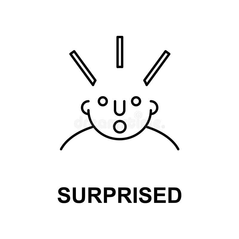 förvånat på meningssymbol Beståndsdel av symbolen för mänsklig mening för mobila begrepps- och rengöringsdukapps Den tunna linjen royaltyfri illustrationer