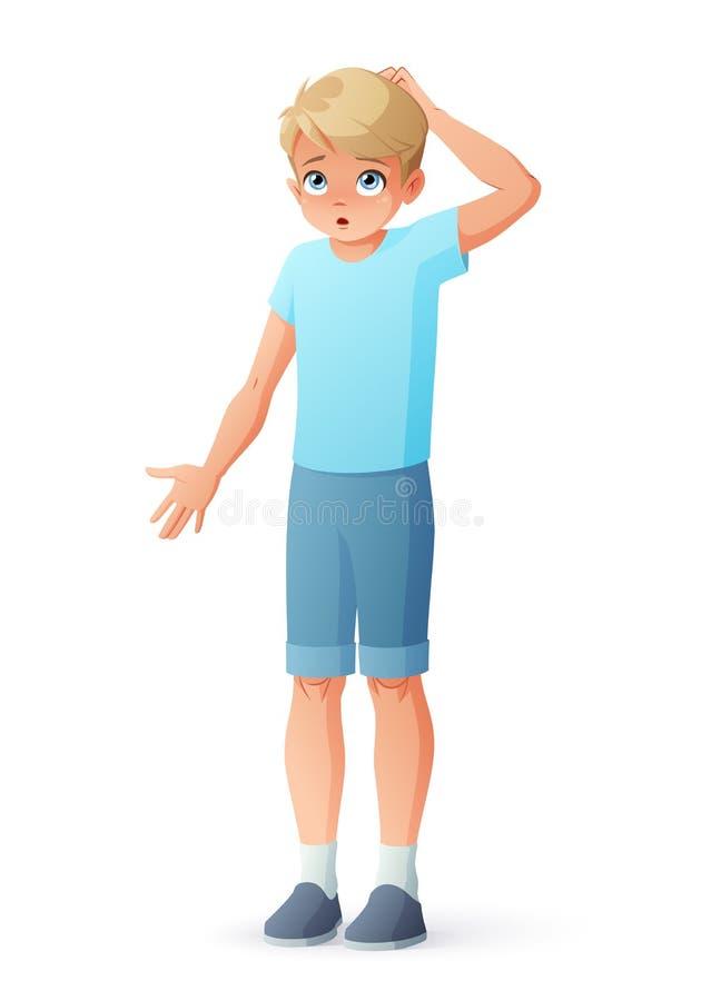 Förvånat skrapa för pojke som är head, och rycka på axlarna skuldror Isolerad vektorillustration stock illustrationer