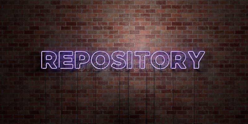 FÖRVARINGSRUM - fluorescerande tecken för neonrör på murverk - främre sikt - 3D framförd fri materielbild för royalty vektor illustrationer