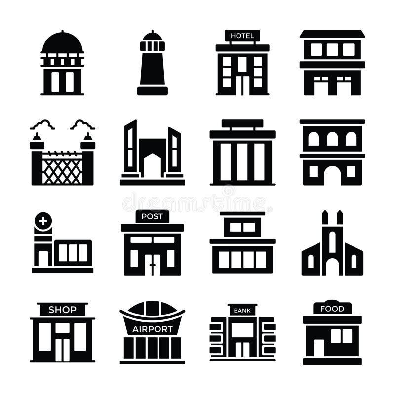 Förvaringsrumhem, bank, finansiellt institut, villa, koja, hus, stadshus, modernt hus, lantbrukarhem, lager, lägenheter, möte vektor illustrationer