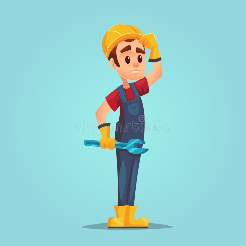 Förvirrad caucasian byggmästare med full längd för justerbar skiftnyckel av den förvirrade arbetaren med hjälmen För felfråga för royaltyfri illustrationer