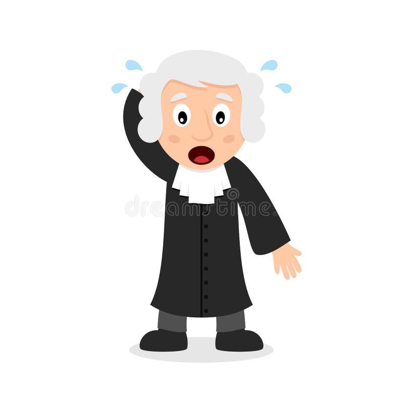 Förvirrad domare Cartoon Character royaltyfri illustrationer
