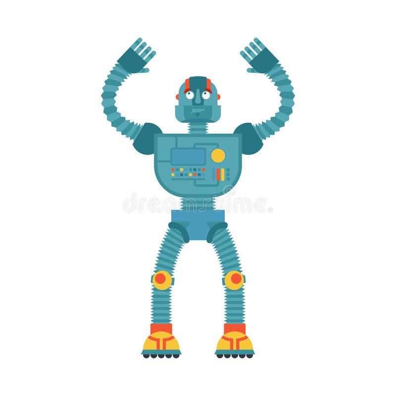 Förvirrad emoji för robot oops Förvirrade sinnesrörelser för Cyborg stock illustrationer