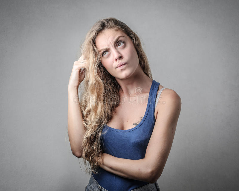 Förvirrad flicka fotografering för bildbyråer