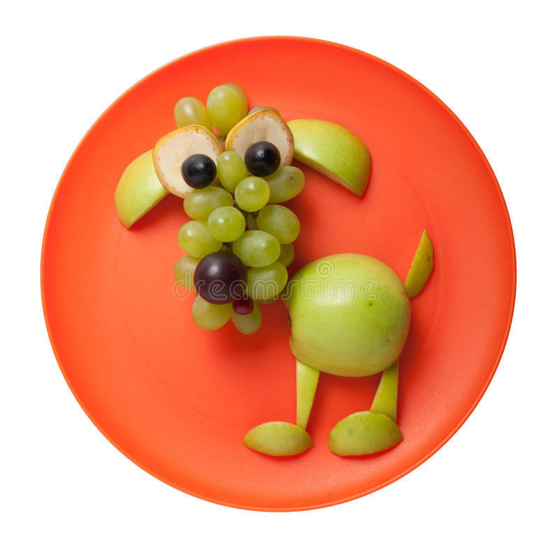 Förvirrad hund som göras av det gröna äpplet royaltyfria bilder