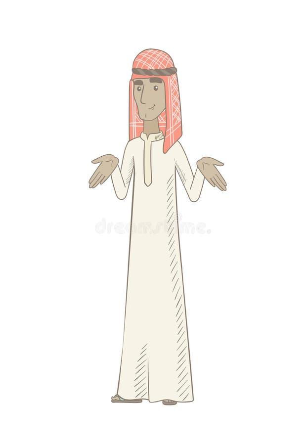 Förvirrad man för unga muslim med spridningarmar vektor illustrationer