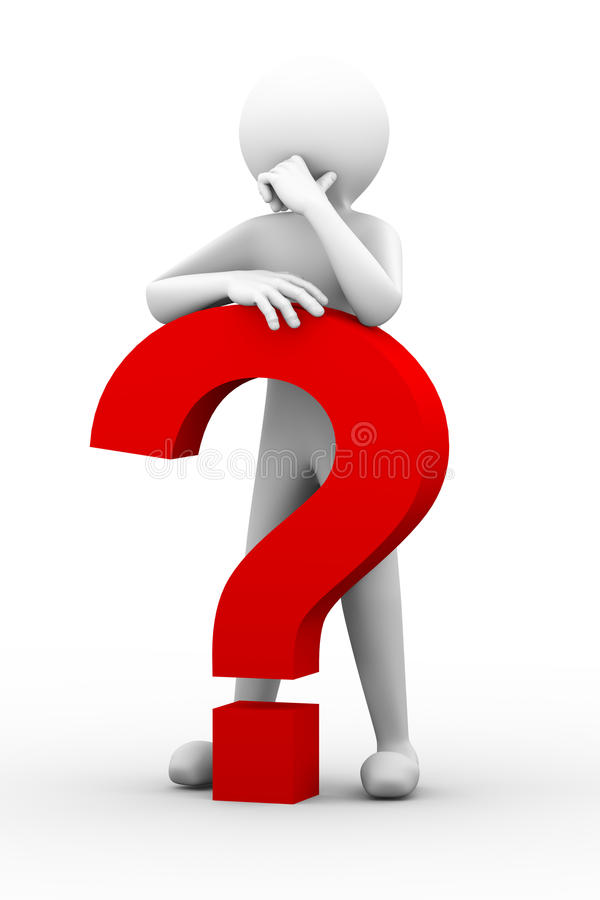 förvirrad person 3d med illustrationen för frågefläck stock illustrationer