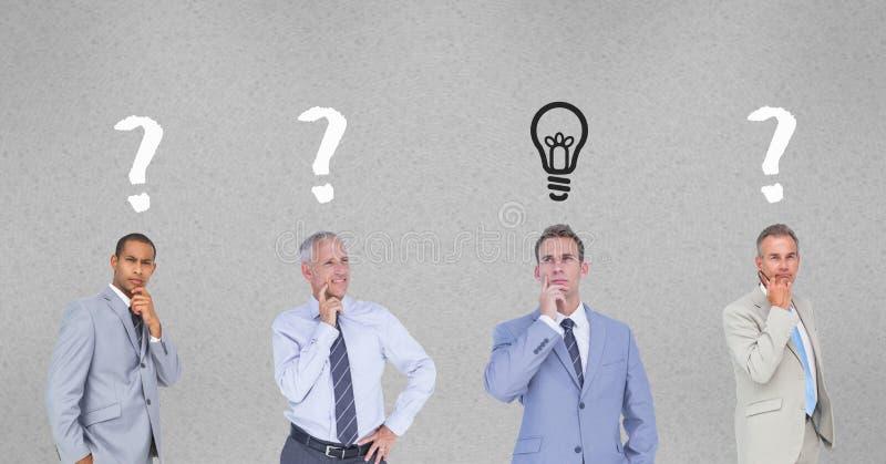 Förvirrade affärsmän med frågefläckar och den ljusa kulan royaltyfri illustrationer