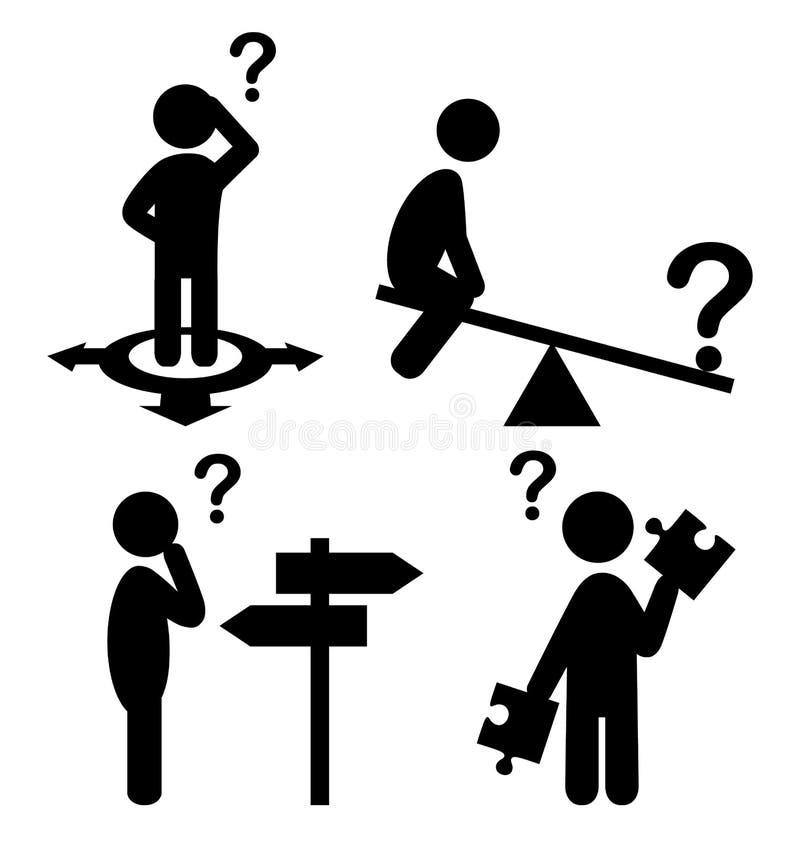 Förvirringsfolket med frågefläckar sänker symbolspictogramen royaltyfri illustrationer