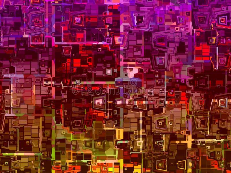 Förvridet färgrikt abstrakt begrepp kvadrerar bakgrundstextur fotografering för bildbyråer