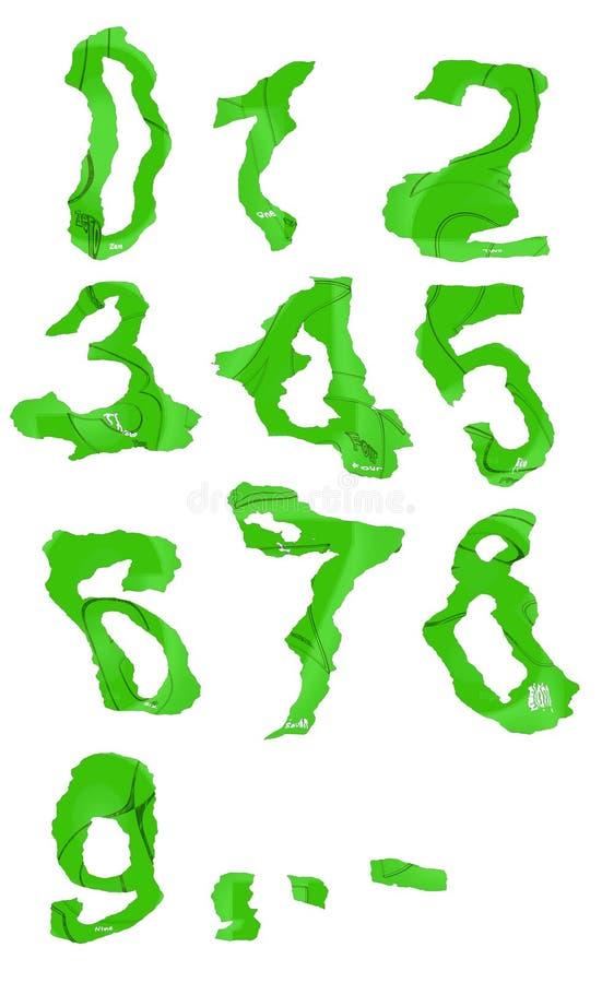 Förvridna gröna siffror från noll till nio stock illustrationer