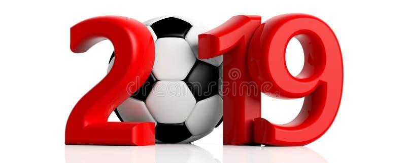 Fútbol, fútbol 2019 Año Nuevo rojo 2019 con el balón de fútbol en el fondo blanco ilustración 3D ilustración del vector