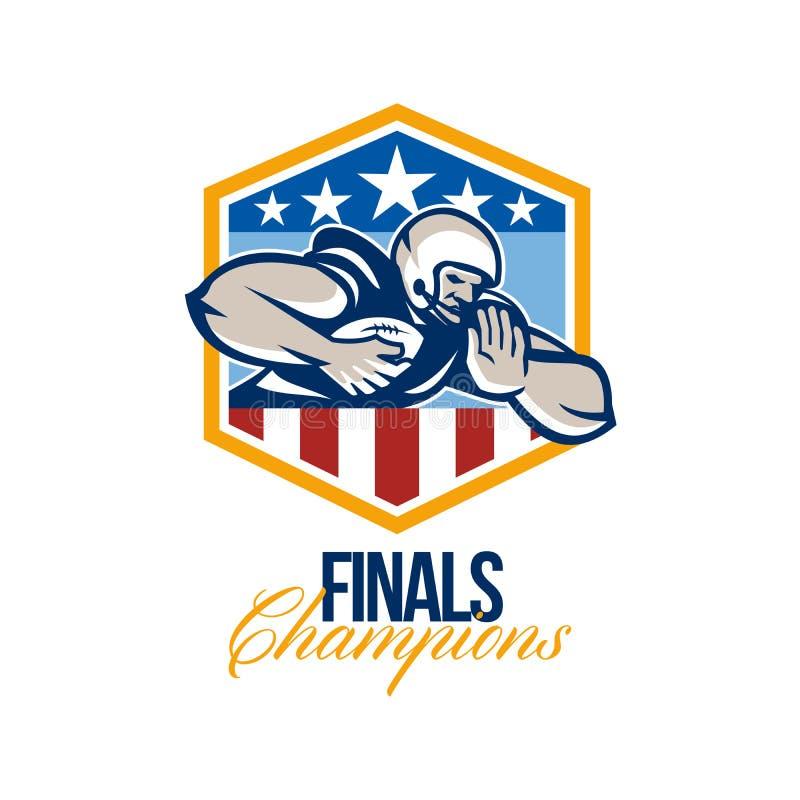 Fútbol americano que funciona con detrás a campeones de los finales stock de ilustración