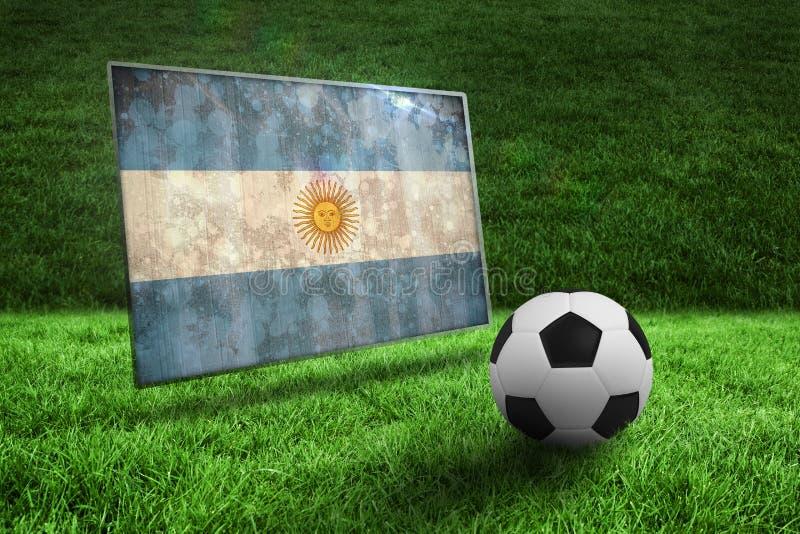 Fútbol blanco y negro en hierba stock de ilustración