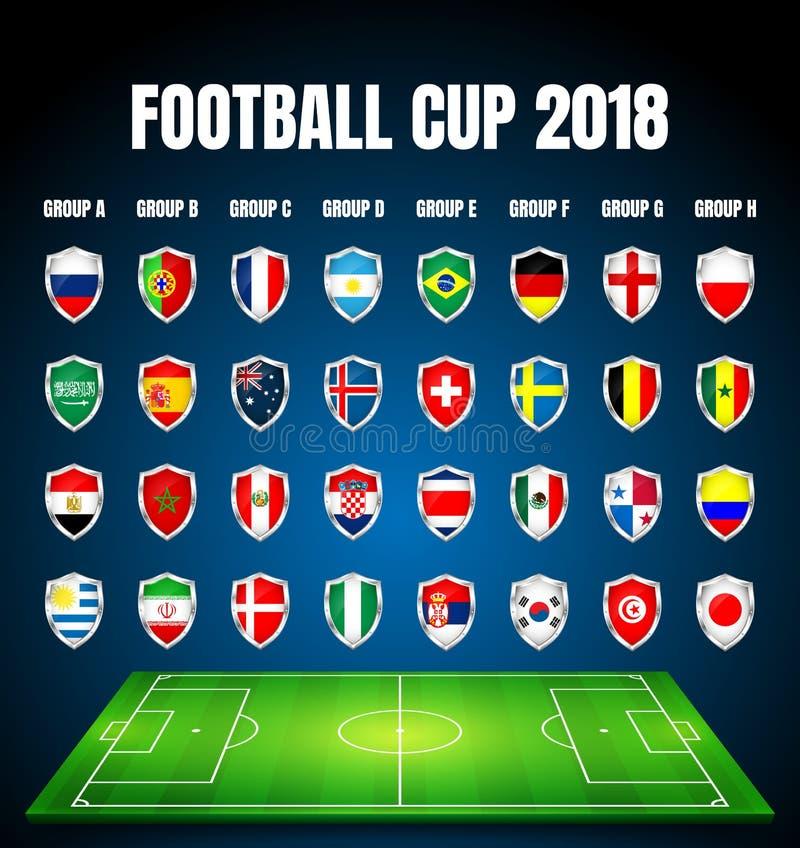 Fútbol 2018, calificación de Europa, todos los grupos stock de ilustración