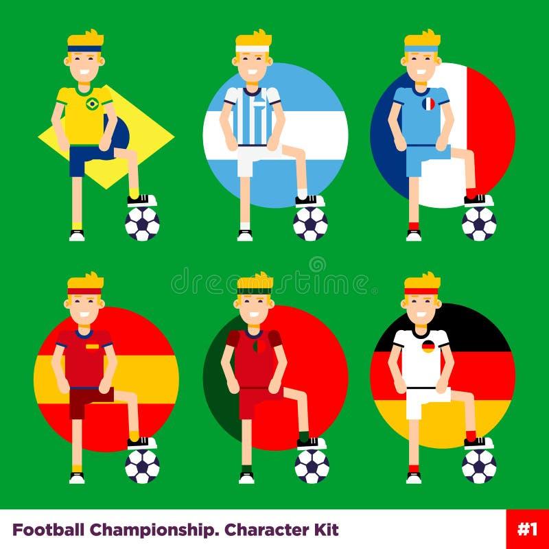 Fútbol, caracteres planos del vector europeo del fútbol fijados ilustración del vector