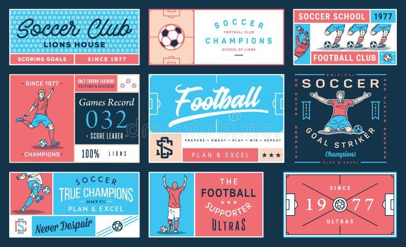 Fútbol coloreado número determinado 2 de la insignia ilustración del vector