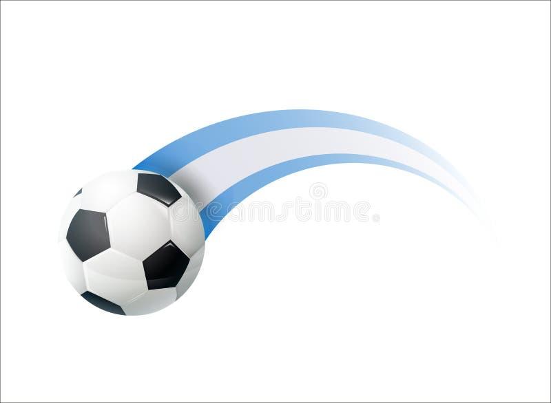 Fútbol con el rastro colorido de la bandera nacional de la Argentina Diseño del ejemplo del vector para los campeonatos del fútbo stock de ilustración