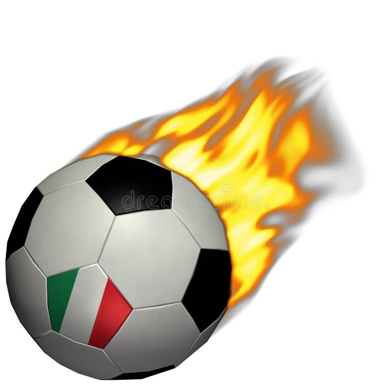 Fútbol de la taza de mundo/balompié - Italia en el fuego stock de ilustración