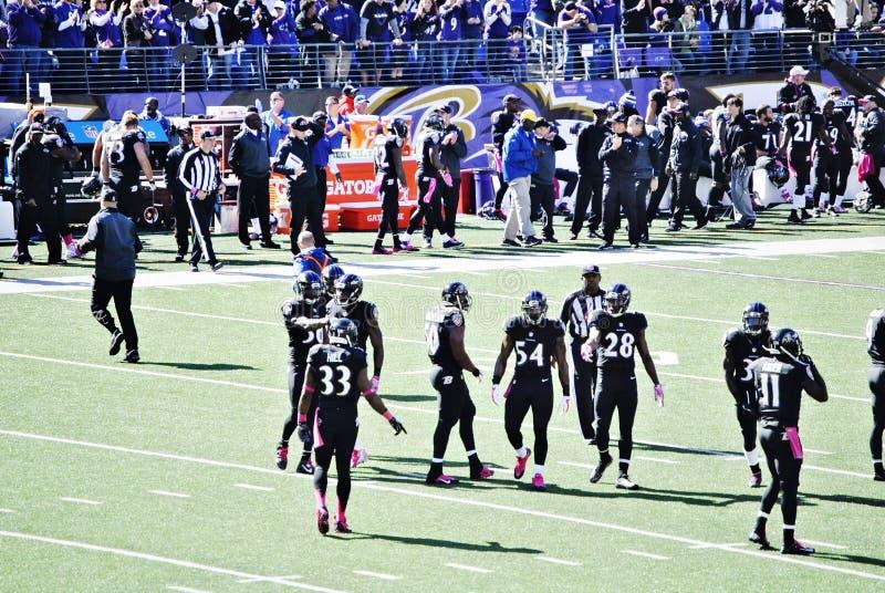 Fútbol de los Baltimore Ravens imágenes de archivo libres de regalías