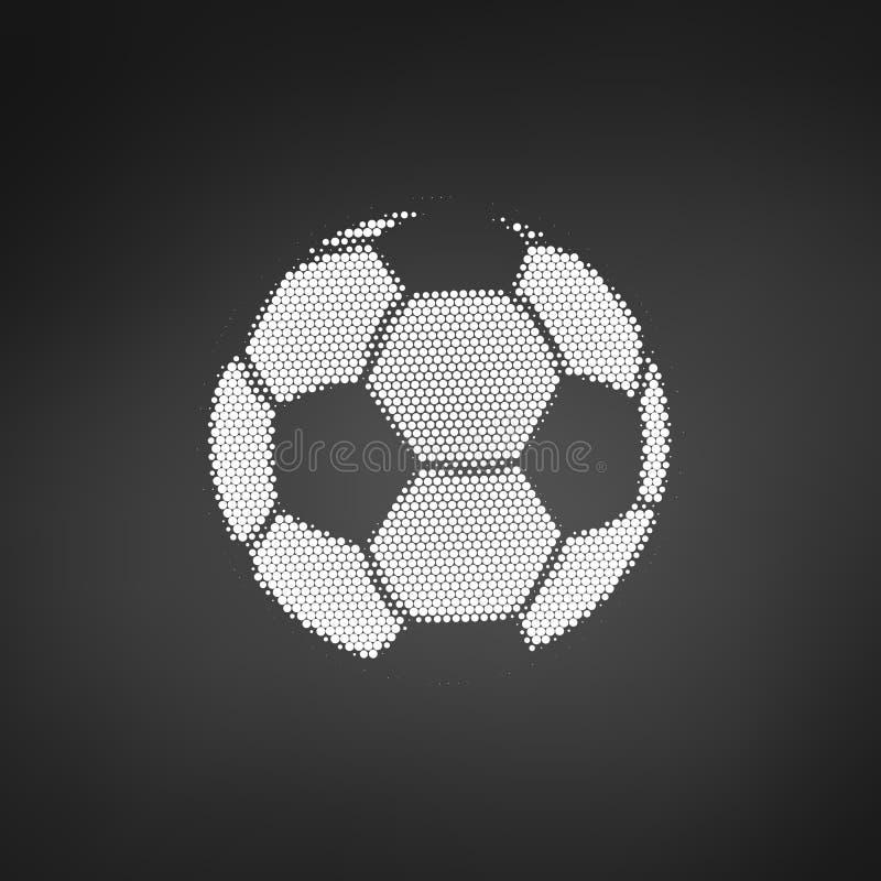 Fútbol de semitono azul con los puntos Bal?n de f?tbol del vuelo Ilustraci?n del vector aislada en el fondo blanco libre illustration