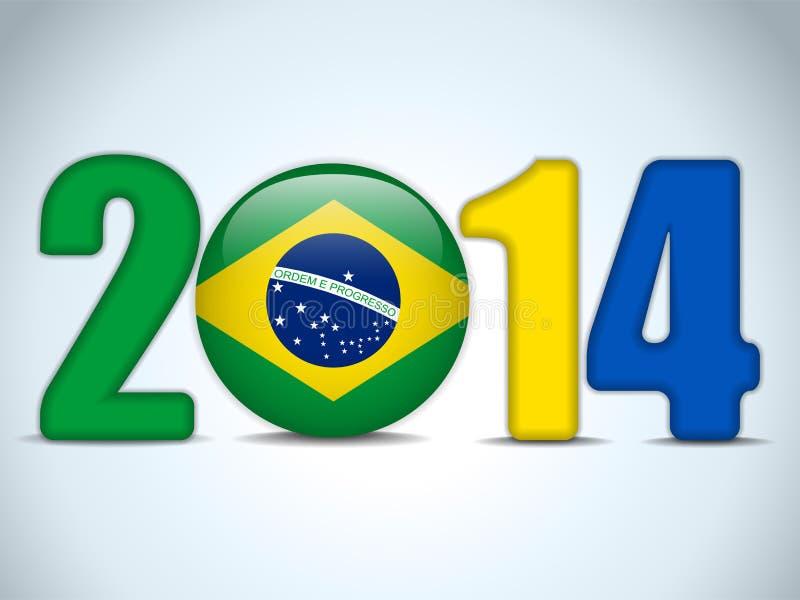 Fútbol 2014 del Brasil con la bandera brasileña stock de ilustración