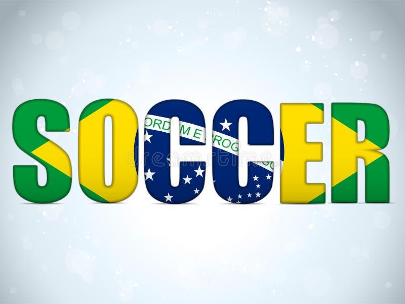 Fútbol 2014 del Brasil con la bandera brasileña libre illustration