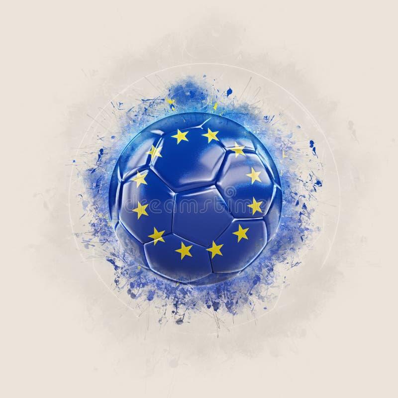 Fútbol del Grunge con la bandera de la unión europea stock de ilustración