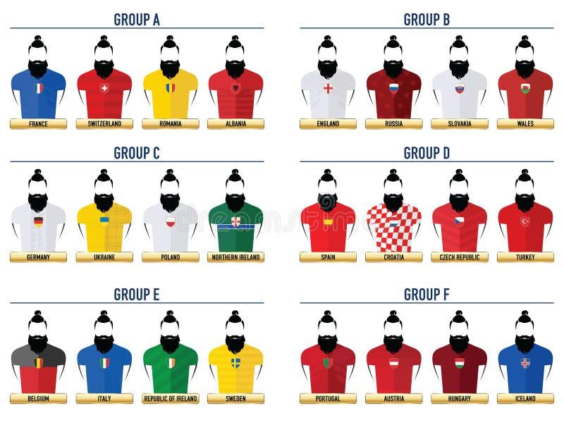 Fútbol 2016 del inconformista Iconos stock de ilustración