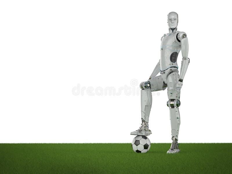 Fútbol del juego del robot stock de ilustración