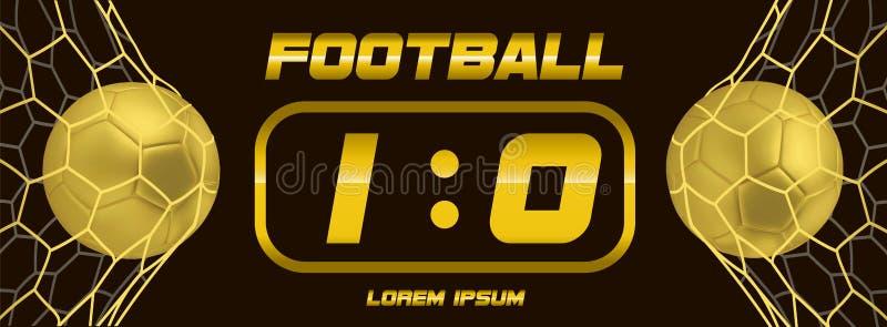Fútbol del oro o bandera de oro del negro del fútbol con la bola 3d y marcador en el fondo blanco Meta del partido del juego de f libre illustration
